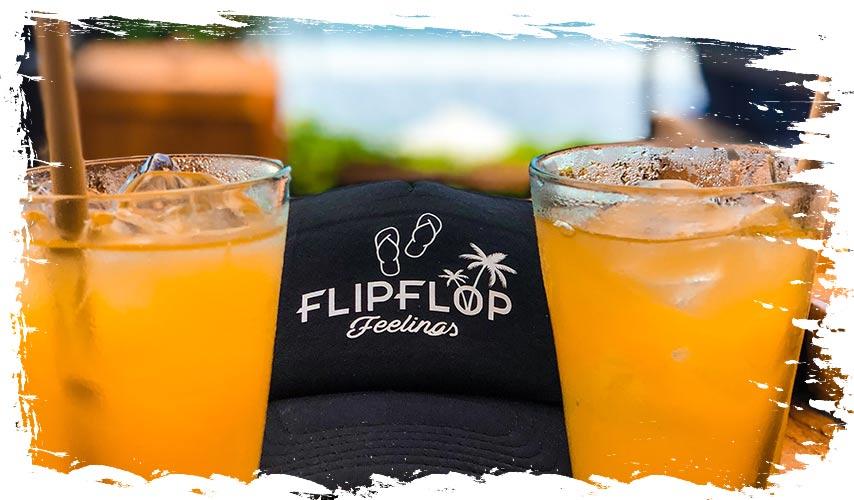 FlipFlop Feelings Cap met twee drankjes