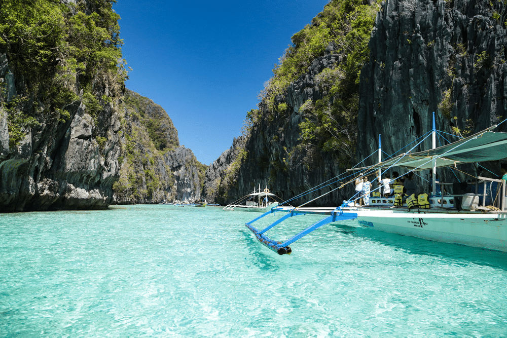 Een boot in El Nido