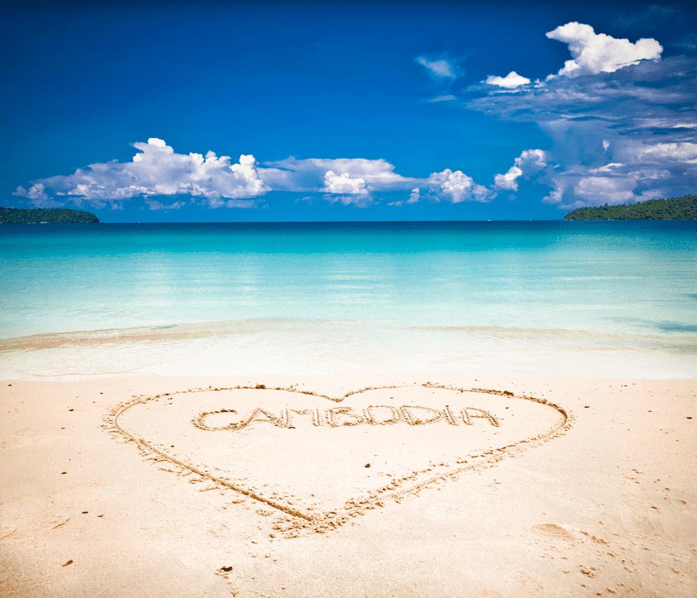 i love cambodia op het strand